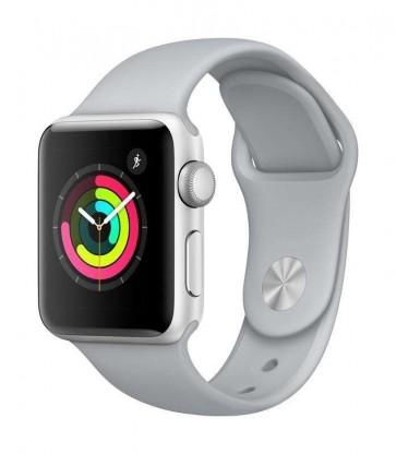 Apple Watch Series 3, 38mm puzdro zo strieborného hliníka – hmlovo sivý športový remienok