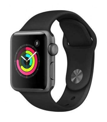 Apple Watch Series 3, 38mm puzdro z vesmírne sivého hliníka – čierny športový remienok