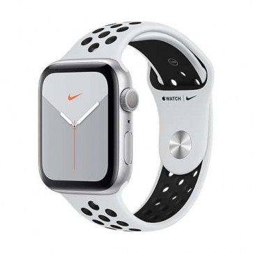 Apple Watch Nike Series 5 GPS, 44mm Silver Aluminium Case with Pure Platinum/Black Nike Sport Band - S/M & M/L