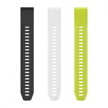 Garmin silikonové remienok - predĺženie QuickFit™ 20 na zápästie fénix 5S - čierny, biely, žltý