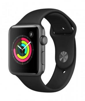 Apple Watch Series 3, 42mm puzdro z vesmírne sivého hliníka – čierny športový remienok