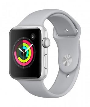 Apple Watch Series 3, 42mm puzdro zo strieborného hliníka – hmlovo sivý športový remienok