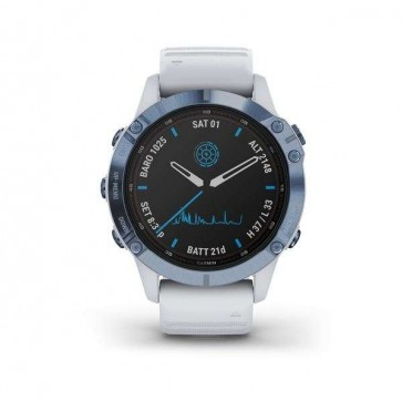 Garmin fenix 6 Pro Solar, Mineral Blue, Whitestone Band