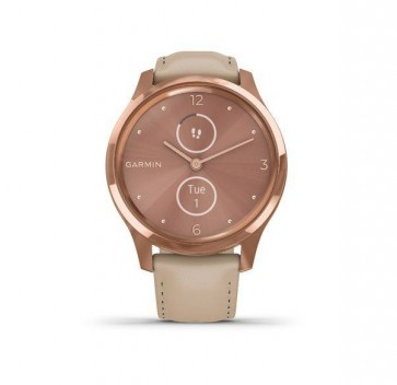 Garmin vivomove Luxe, 18K Rose Gold-Light Sand, Leather